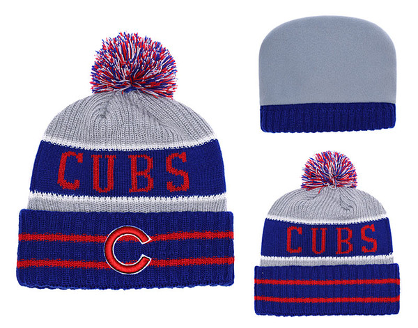 2018 New Sport Chicago Baseball Skullies Hat Pom Cuffed Knitted Hats With Embroidered Team Logo Fans Fashion Winter Warm Women Beanies