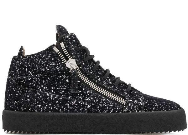 Homens Sequins Sneaker Top Zipper Plano Grosso inferior Creepers Lace up Zapatillas Hombre Sapatos casuais para homens EU39-EU46