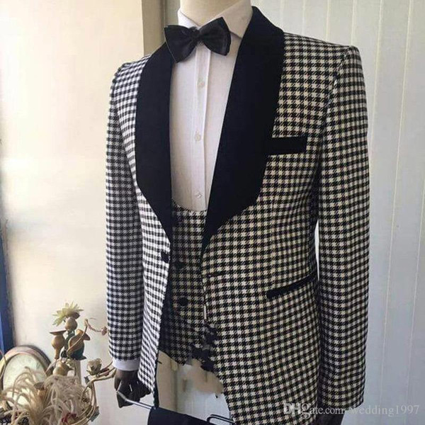 Lapel Shawl Checks Prom Man Suits 3 Pieces Wedding Tuxedo for Men 2019 Custom Made Blazer (Jacket+vest +pants)