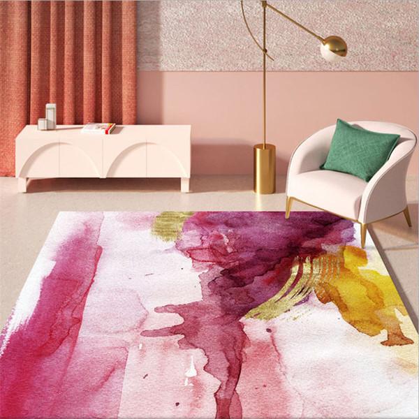 Coperta di zona per soggiorno astratta Rosa inchiostro giallo dipinto Motivo tappeto del salotto Tabella Accessori Tappeti per Bambini Camere