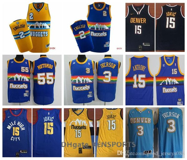 newest e57ca 11dc8 2019 2019 Denver Basketball Nuggets Jersey #55 Dikembe Mutombo #3 Allen  Iverson 15 Nikola Jokic #2 Alex English Stitched Basketball Jersey From ...