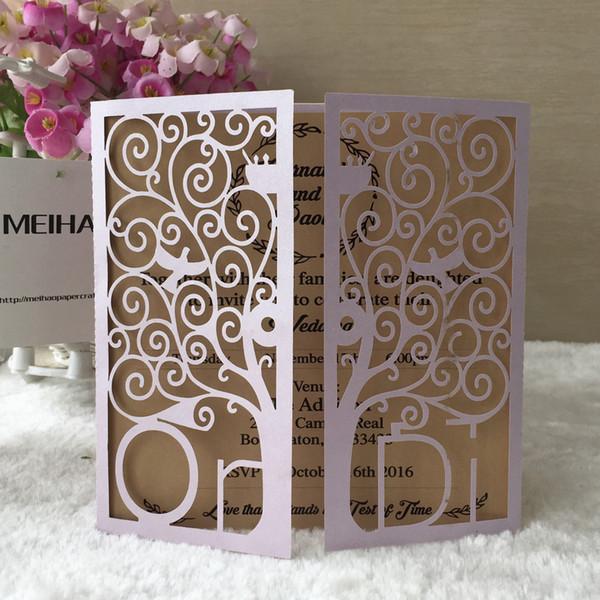 Custom Gold Love Tree Name Abbreviation Laser Cut Pearl Paper Fold Wedding Invitation Birthday Party Dinner Decoration Business Pocket Card Adult