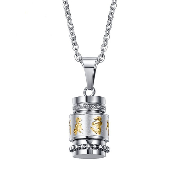 Tibetan Style Classic Retro Menr's Buddhist Six-word Mantra Pendant Necklace Stainless Steel Cool Pendant Gift For Men Boys J692