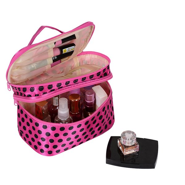 New Double Layer Cosmetic Makeup Bag Dot Zipper Storage Organizer for Women Toiletry Bags Home Supplies