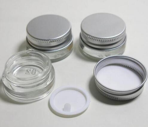 Tarro de crema de vidrio de alta calidad de 5 g con tapa de aluminio, envase cosmético de boca ancha de 5 ml, envase cosmético de crema para los ojos