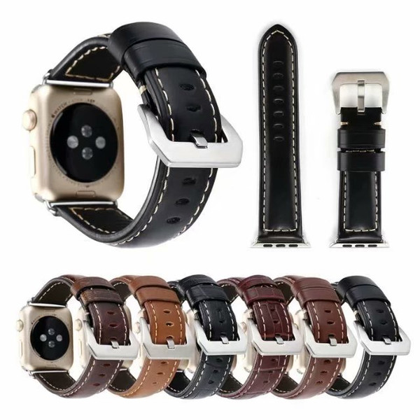 Luxury High Quality Genuine Leather Bracelet Strap 38mm 42mm Single Tour Replacement Watchband Band For Apple Watch Series 4 3 2 1 40mm 44mm