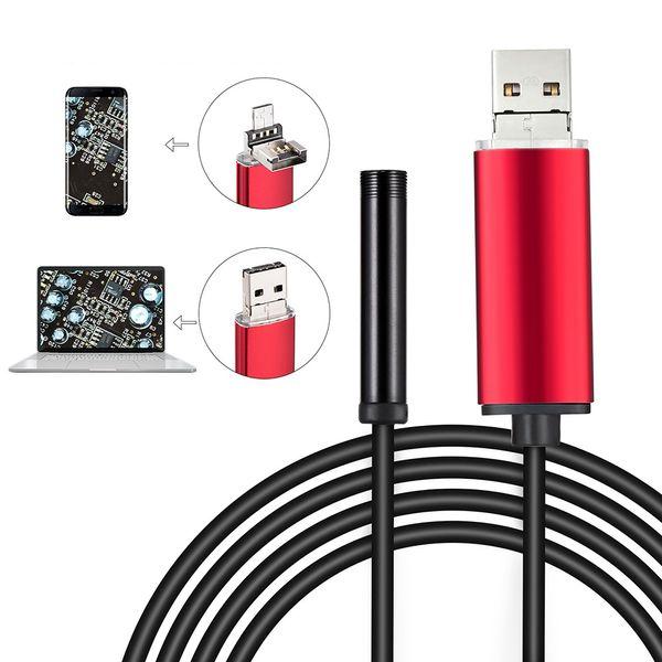 720P HD 5.5 мм Линза для осмотра объектива 1M / 2M / 5M / 10M Кабель USB Эндоскоп Мини USB камера Змеиная трубка с 6 светодиодными бороскопами для телефона Android ПК