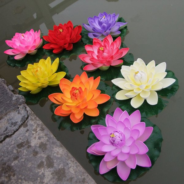 1PCS 17CM Decor Garden Artificial Fake Lotus Flower Foam Lotus Flowers Water Lily Floating Pool Plants Wedding Garden Decoration C18112601