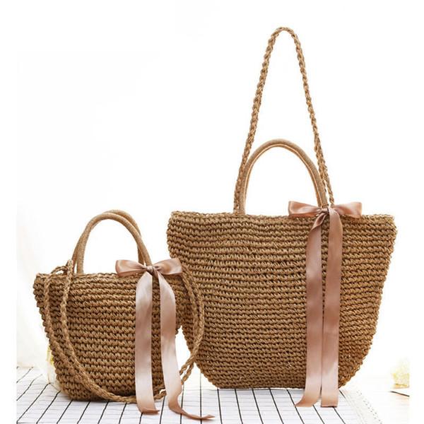 good quality New Bohemian Ribbons Beach Bag For Women Cute Wind Summer Straw Bag Shoulder Portable Bucket Woven Bag Lady Grass Handbags