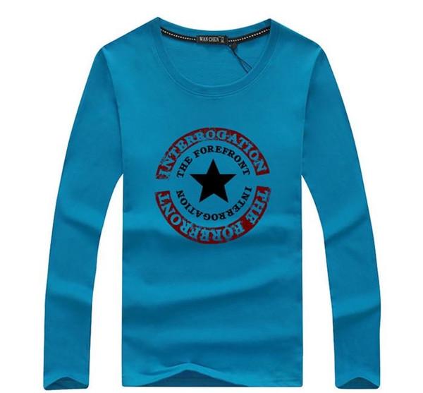 algodão New Verão manga longa de impressão a cor da camisa Sólidos Men t Homens T-shirt engraçado da camisa de t Hip hop Casual O-Neck