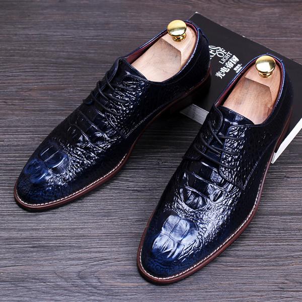 Erkekler Timsah tahıl siyah / kırmızı chaussures derby hommes oxford ayakkabı elbise adam düğün dantel Temel resmi iş ayakkabısı