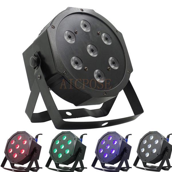 7pcs 12w led lamp beads 7x12W led Par lights RGBW 4in1 flat par led dmx512 disco lights professional stage dj equipment