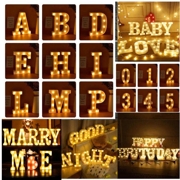 Led Nuit Lampe Lettre Alphabet Lumière Mariage Fête D'anniversaire De Mariage Festive Pour Amour Coeur Décor À La Maison HH9-2089