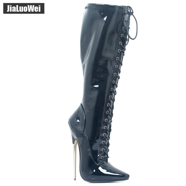jialuowei 18cm Ultra High Metal Heel Stiletto Pointed-toe Cross-tied knee-High Boots Sexy fetish Boots For Women Szie 36-46