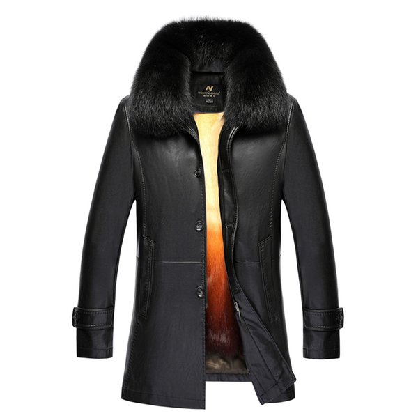 2019 mens winter long leather coats real fur jackets outdoor  rabbit fur overcoat snow shearling jackets big size clothes newest