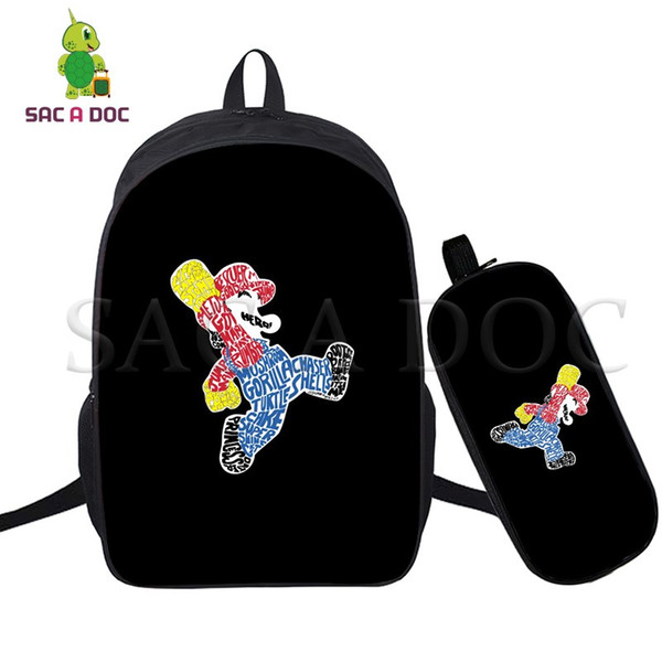Super Mario 2 Pcs/set Backpack Laptop Backpack for Teenagers Girls Boys Travel Bags Children Cartoon School