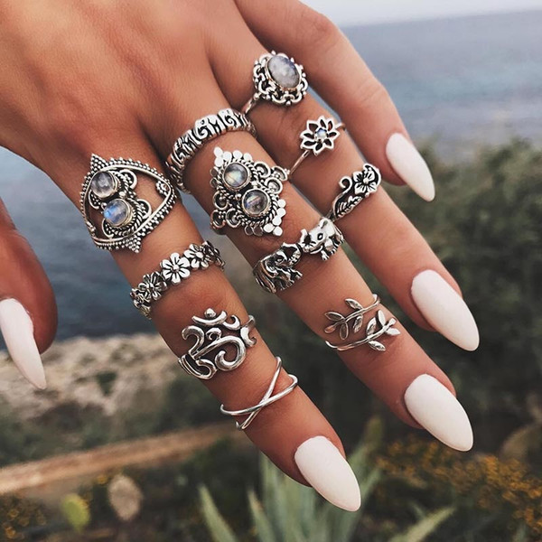 Retro designer jewelry Women rings Set Elephant Flower Crown Leaf Yoga Stacking Rings Midi Rings Women Ring Jewelry Will and Sandy 080432