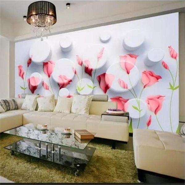Custom Size 3D Photo Wallpaper Living Room Mural 3D Circle Safflower 3D Picture Sofa TV Backdrop Mural Home Decor Creative Hotel Wallpaper