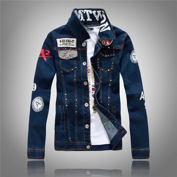 New Spring Autumn Fashion Men Denim Jacket Slim Fit Long Sleeve Washing Cowboy Coat Men Jacket