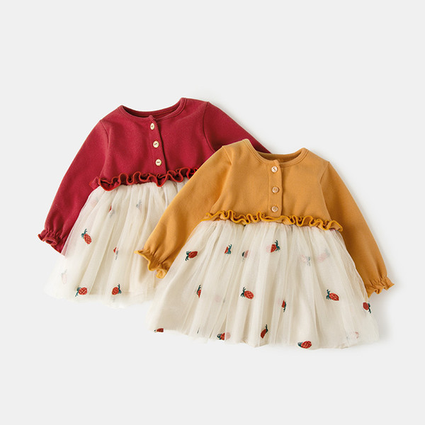 Christmas Christening.2019 Infant Baby Clothes Newborn Baptism Dress For Girls Clothing Strawberry Embroidery Princess Party Christmas Christening Dresses Y190516 From