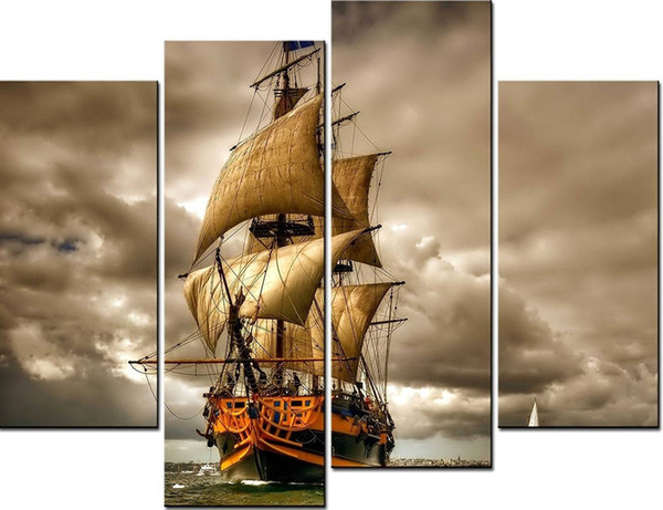 4pcs/set Unframed Ship and The Clouds Panting Oil Painting On Canvas Giclee Wall Art Painting Art Picture For Home Decor