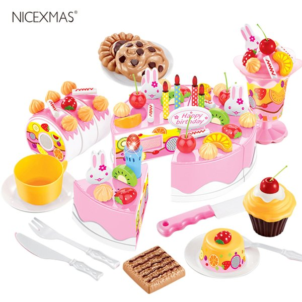 75Pcs DIY Children Kitchen Toys Pretend Cutting Birthday Cake Fruit Cream Plastic Play Food Tea Set house Cookware Sets