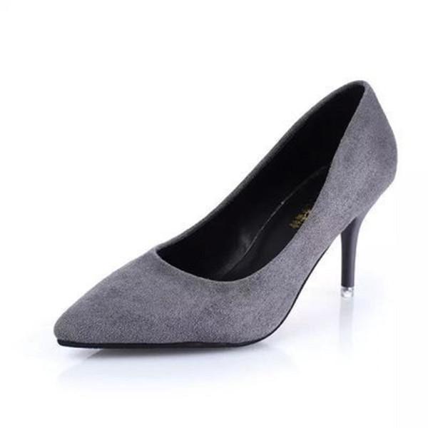 Han edición de finos nuevos zapatos de tacón alto de primavera con punta puntiaguda zapatos de gamuza de moda más ligeros con color puro en el
