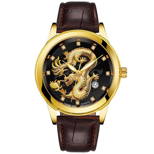 Waterproof Mens Gold Dragon Sculpture Quartz Watch Luxury Men Leather Wristwatch Men's Golden Dragon Sculpture Quartz Watches