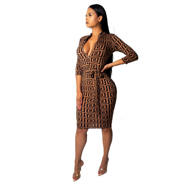 Fashion-Womens Designer Dress Fashion Geometric Pattern Dresses Sexy Deep V-neck Clothes Womens Clothing 2019 New Size S-2XL Wholesale