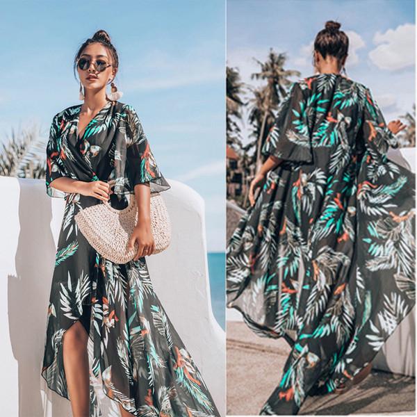 Cover Up Beach Wear Bikini 2019 Robes Femmes Paréo Tuniques d'été 2019 en mousseline de soie Jupe côtière Imprimer Allongé Acétate Sierra