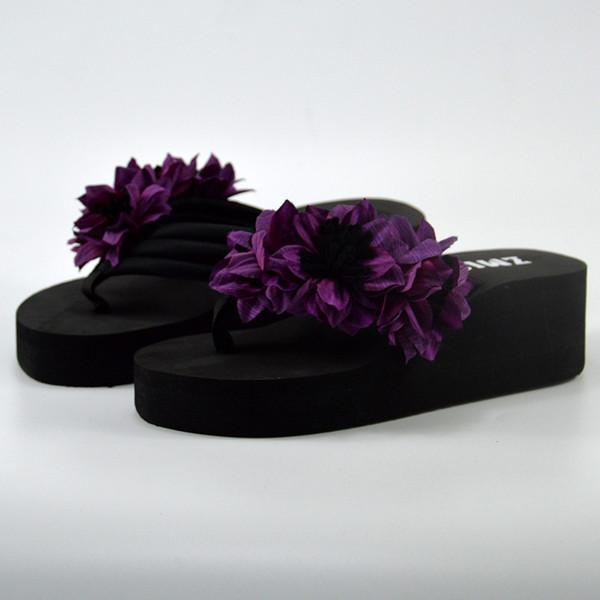 Mulheres verão Muffin Wedge Heels Sandálias Chinelos Inferior Casa de Banho Praia Flip Flops Sapatos Borboleta Floral Fundo Grosso Sapato