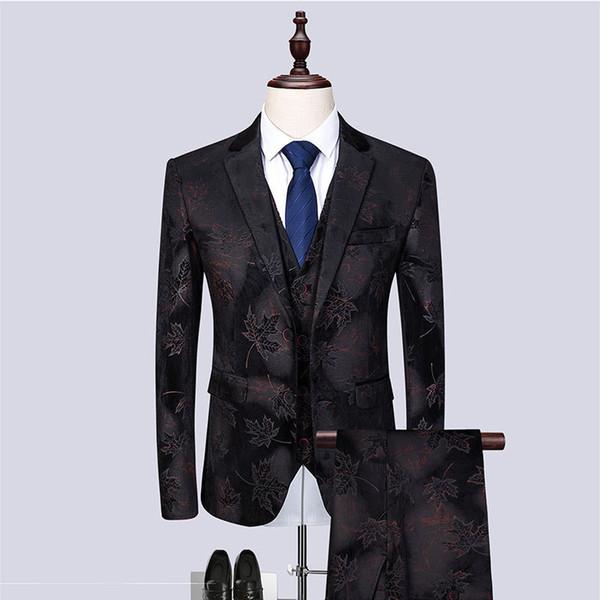 Men's suit spring and autumn new men's fashion slim suit three-piece suit (jacket + vest + pants) men's banquet party dress