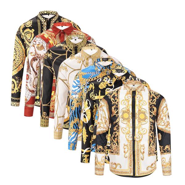2018 Sonbahar kış uzun kollu Casual gömlek erkekler baskılı elbise gömlek Renkli Baskı Slim Fit medusa Ipek Gömlek