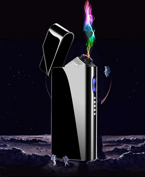 Nice Colorful Zinc Alloy USB ARC Windproof Charging Lighter Portable Innovative Design For Cigarette Bong Smoking Pipe High Quality DHL Free