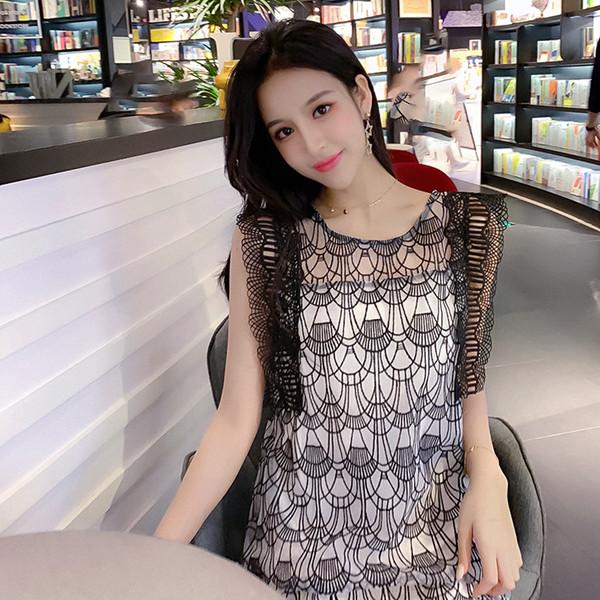 Art und Weise höhlen heraus Ineinander greifen Kleid OL Oansatz Sleeveless Spitze getäfelte Kleider neues Sommer-Frauen-Kleid Z2048 aus