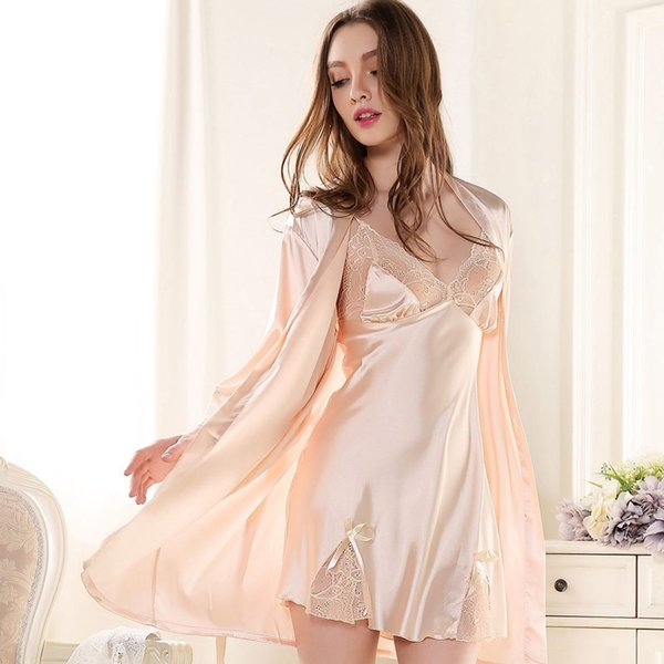 Spring Summer Women Satin Robe Sets Deep V-neck Patchwork Lace Nightdress Nightgown Adjustable Straps Bath Robe