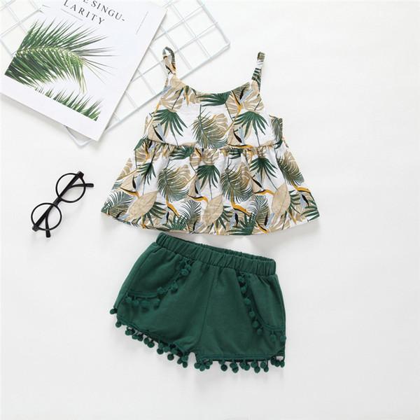Summer INS Design Baby Girl Camisa de hoja verde Vestido Tops Con Borla bola Bloomers cortos 2 piezas Trajes Lolita Girls Set para 0-5 T