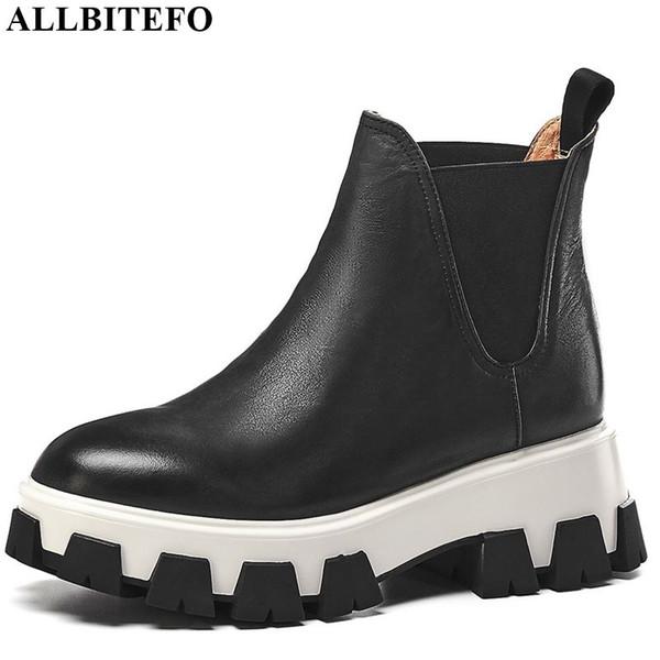 ALLBITEFO модный бренд высокие каблуки повседневная женская обувь натуральная кожа платформа ботильоны для женщин зима снег девушки