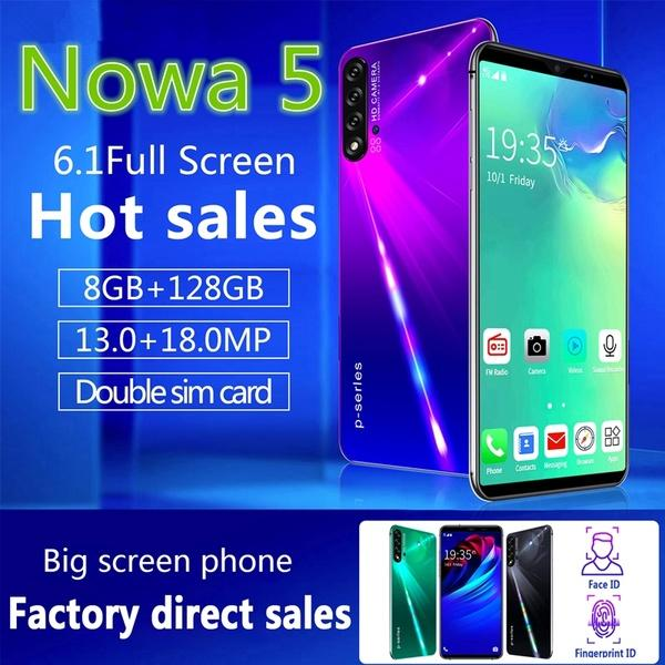 top popular NOWA5 Pro 6.1inch 4G LTE 8 + 128GB Large Memory 10 Core Android 9.1 with Face Recognition Fingerprint Unlock Support Dual Card Mobile Phone 2019