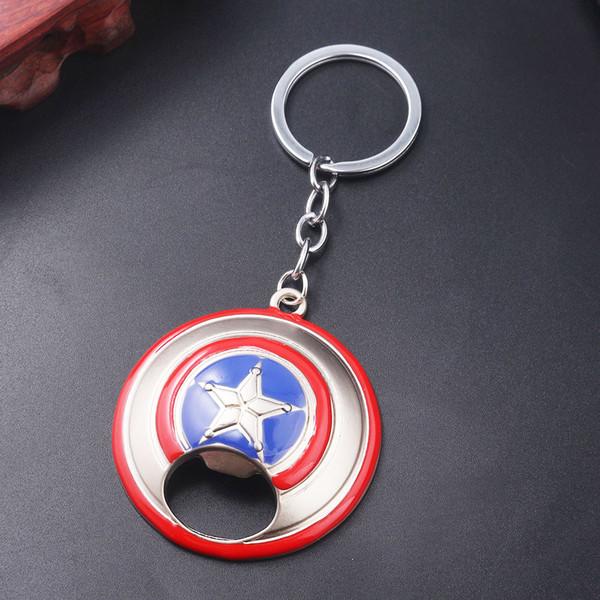 Capitão Americano Escudo Abridor de Garrafa Keychain Marvel Superhero Modelo Chaveiro para Homens Chaveiro Carro Jóias Presente