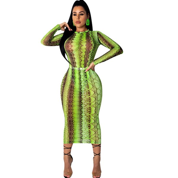 2019 Women Party Club Dress Summer Sexy Sheer Bandage Bodycon Dress Long Sleeve Neon Green Snake Print Transparent Mesh Dress