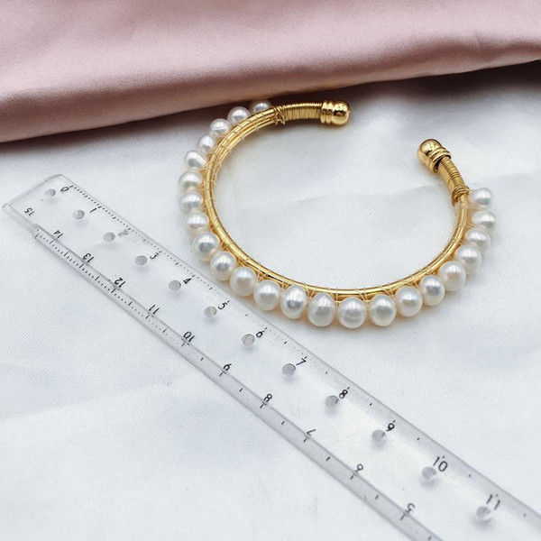 Bangles For Women Fine Jewelry Natural Pearl Bracelets Round Freshwater Pearl Jewelry Classic Birthday Gift