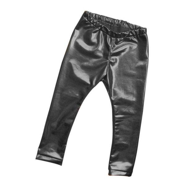 Children Girls Leather Bronzing Pants Leggings Skinny Elastic Waist Child Baby Casual Solid Black Warm Trousers