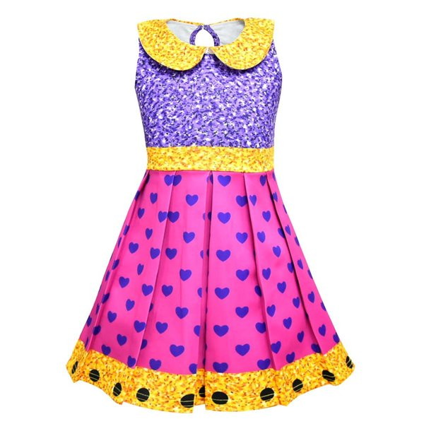 Girls Surprise Princess Dress Stage Show Cosplay Costume Birthday Party Gifts Children Cartoon Sleeveless Summer Dresses Princes Kid Dancer