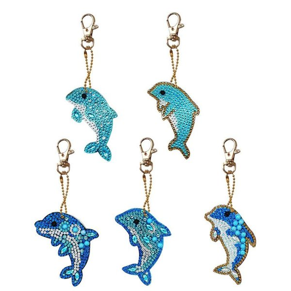 top popular Home & Garden 5pcs Dolphin Shape Key Chains 5D DIY Diamond Painting Keychains Special Shape Full Drill Diamond Embroidery Keyring Gift 2021