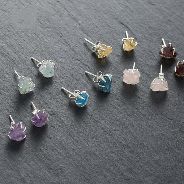 Natural colorful crystal stud earrings, original design gem crystal earrings