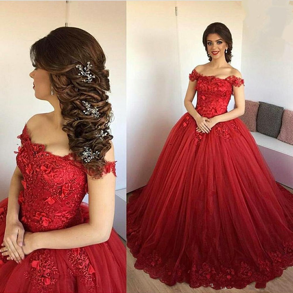 Charming New Arrival Off Shoulder Ruby Bridal Gowns Ball Gown Lace