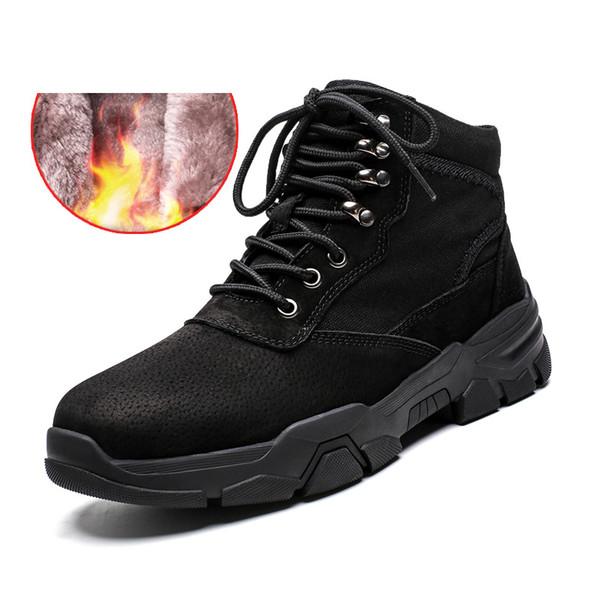 Kürk Deri Bay Bot Sıcak Kar Botlar Erkekler Kış Çalışması Casual Ayakkabı Sneakers Yüksek Top Kauçuk Ayak bileği tutun
