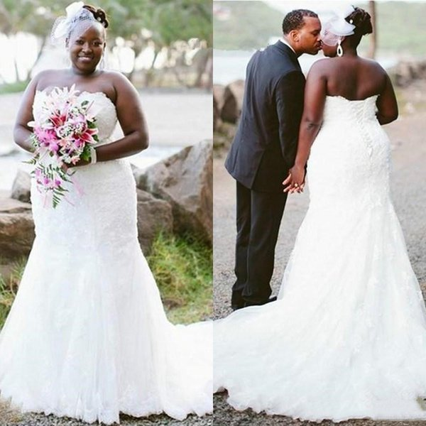 Black Girls Vintage 2019 Mermaid Wedding Dresses Cheap Strapless Tulle Long Mermaid Bridal Gowns Custom Made
