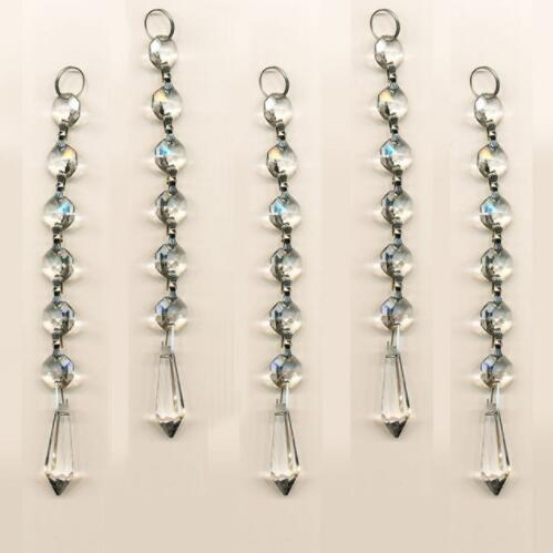 Clear 10PCS Diamond Hanging Crystal Garland Wedding Strand with 6 Beads and Prism Pendant Accent Parts for Chandeliers